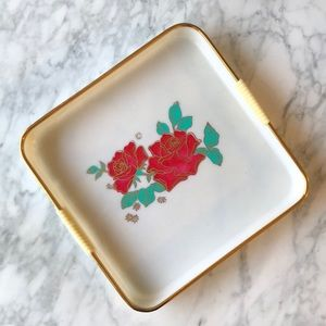 Other - Vintage plastic tray with painted roses